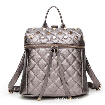 Korean Backpack Rivet Leather Travel Bags [6581505543]