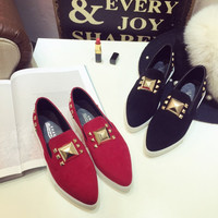 New Elegant Causal Comfortable Summer Stylish Flat Rivet Pointed Toe Vans Shoes Loafer Shoes [8865177292]