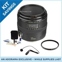 Canon EF 50mm f/2.5 Macro AF Lens Kit, USA with 52mm UV Filter, Lens Cap Leash, Professional Lens Cleaning Kit