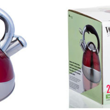 stainless steel whistling tea kettle - red Case of 12