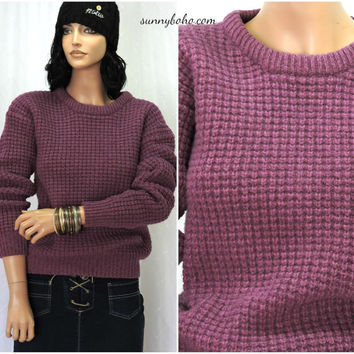 Vintage 80s chunky sweater S 1980s purple pullover cable knit wool blend sweater retro crew neck sweater SunnyBohoVintage