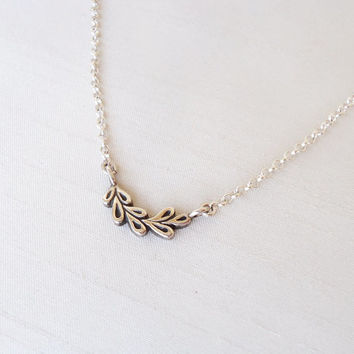 Little Tiny Leaves Pendant in Sterling Silver with Sterling Silver chain - Leaf Leaves Nature Original Unique - Contemporary Jewelry