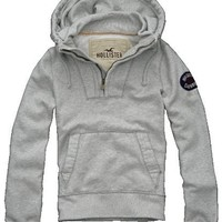 Hollister Mens Avalon Place Pullover Hoodie, Light Heather Grey (X-Large)