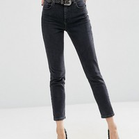 ASOS FARLEIGH High Waist Slim Mom Jeans In Washed Black at asos.com
