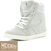 silver wedge high tops