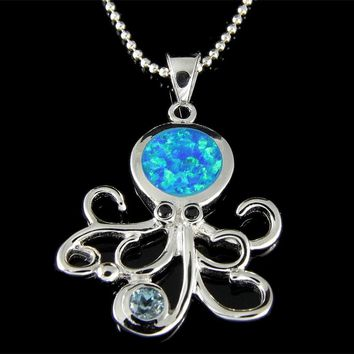 INLAY OPAL GENUINE BLUE TOPAZ SILVER 925 HAWAIIAN OCTOPUS PENDANT 21MM