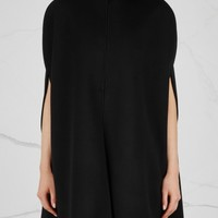 Valentino Black scalloped wool blend cape