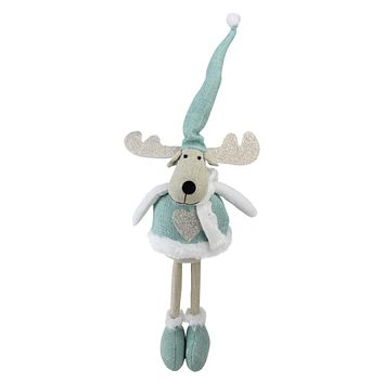 """18"""" Teal and White Decorative Standing Moose Tabletop Decoration"""