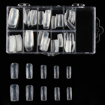 100pcs Full Cover False Nail Art Tips Set Manicure Acrylic Gel Polish Nails Extend Salon Practice Fake Tip Kit with Box