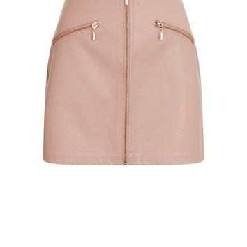 Petite Mid Pink Leather-Look Zip Front Skirt