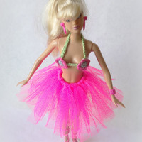 Pink Barbie Tutu Skirt, Ballerina skirt for Barbie, Ballet Dance Skirt for fashion dolls, Handmade Barbie clothes.
