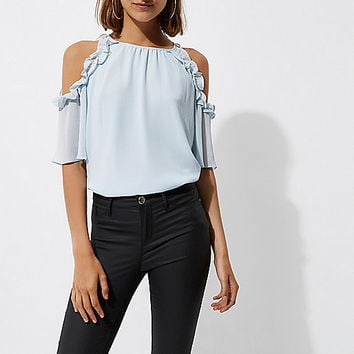 Light blue frill cold shoulder blouse - Bardot / Cold Shoulder Tops - Tops - women