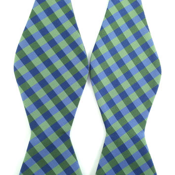 Lime Green with Black and Blue Checks - Self-Tied Bow Tie