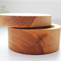 Round wooden box welded in olive oil - with cover - natural, eco friendly - 100 mm diameter