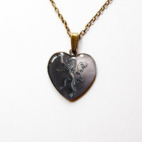 House Lannister of Casterly Rock Crest  - Game of Thrones Jewelry - A Song of Ice and Fire - Handmade Vintage Cameo Pendant Necklace