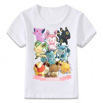 Kids Clothes T Shirt Pokemon Eevee Evolution Children T-shirt for Boys and Girls Toddler Shirts Tee