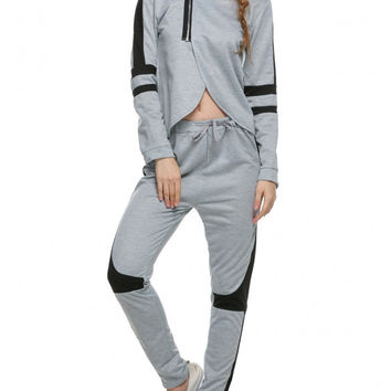 Women Casual Tracksuit Split Hoodies Hooded Tops + Pants Suit 2 Pcs