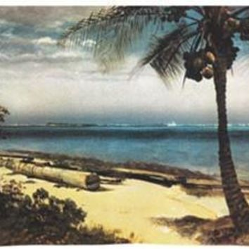 Tropical Coast Ocean Palm Tree Landscape Wall Tapestry 53W
