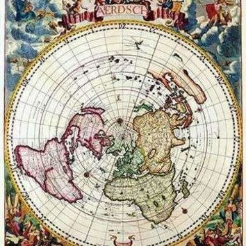 Polar Projection Map of the World (Paper Poster)