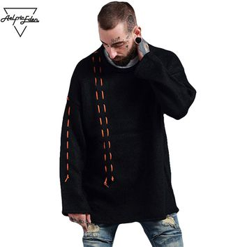 Men Winter Coat Ribbons Wool O-neck Punk Style Pullover Mens Winter Streetwear