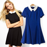 Pointed Flat Collar Short Sleeve A-Line Pleated Mini Dress
