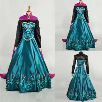 New Style Princess Anna Dress Cloak Suit Cosplay Costume For Adult Dress olaf snowman new halloween
