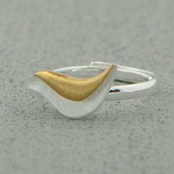 Sing Your Own Song Silver and Gold Bird Ring