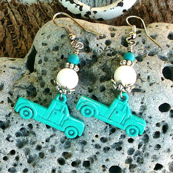 Turquoise Truck Earrings Vintage TRUCK EARRINGS Patina EaRrInGs White Mountain Jade Bead Earrings Country Girl Earring Western Jewelry