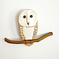 Perching Barn Owl Wall Hanging in Porcelain