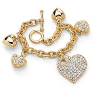 Crystal Multi-Heart Charm Bracelet in Yellow Gold Tone 8""