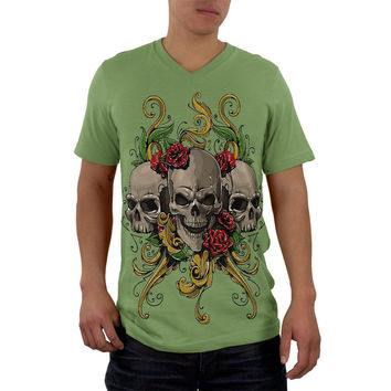 Skulls and Roses Tattoo Mens V-Neck T Shirt