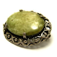 Vintage Brooch Oval Celtic Miracle Brooch Green Agate Glass Cabochon Oval