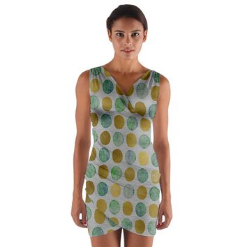 Green And Golden Dots Pattern Wrap Front Bodycon Dress