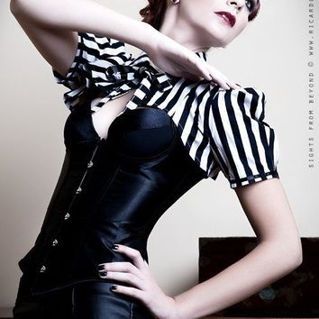 Steampunk victorian black and white stripe by blackmirrordesign