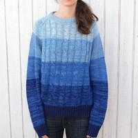 Vintage 80's Ombre Sweater Blue Fade Medium Sweater Barnaby Hipster Sweater Cable knit