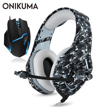 ONIKUMA Gaming Headset Casque PC Gamer Stereo Bass Headphones with Microphone for PS4/Xbox One Gamepad + Wired USB Gaming Mouse