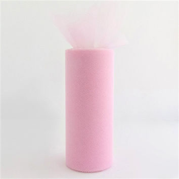 Tulle Spool Fabric Net Roll, 6-inch, 25-yard, Light Pink