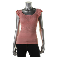 Catherine Malandrino Womens Pointelle Fitted Knit Top