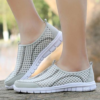 Women Shoes 2017 Summer Loafers Slip on Breathable Casual Mesh Shoes Hight Quality Wom