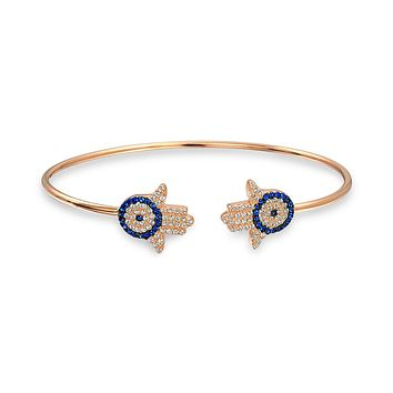 Hamsa H Evil Eye Bangle Cuff Bracelet Rose Gold Plated Sterling Silver