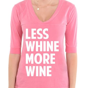 Less Whine More Wine - Football V-Neck Tee