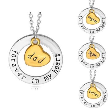 Beautiful Pendant Necklace Mom Dad Sister Daughter Forever In My Heart