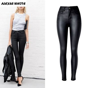 2017 Autumn Women's Slim Faux Leather Trousers Fashion Ladies Stretch PU Biker Pencil Pants Black