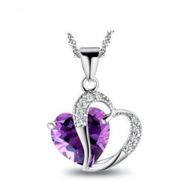 Two Hearts Amethyst 925 Sterling Silver Necklace