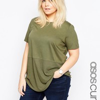 ASOS CURVE Contrast Ribbed Panel T-Shirt at asos.com