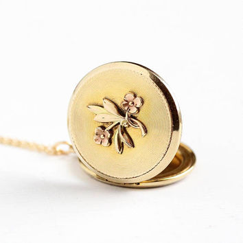Vintage Yellow & Rose Gold Filled Round Flower Locket Necklace - 1940s Repousse Floral Two Tone Round Pendant 18 Inch 14K GF Chain Jewelry