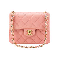 1990s Chanel Pink Lambskin Vintage Mini Flap Bag