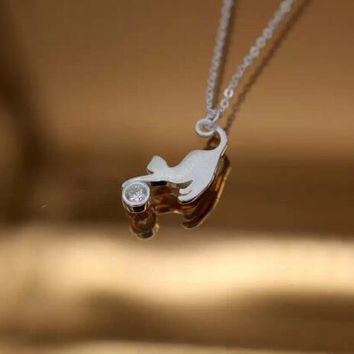 925 sterling silver cute naughty kitten necklace + Nice gift box ALQ-D886