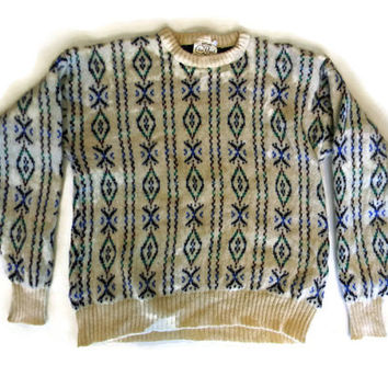 Vintage Knit Wool Sweater Snowflake Design Sweater Ugly Christmas Sweater