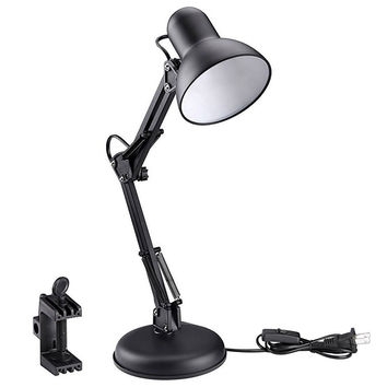 LE Swing Arm Desk Lamp C-Clamp Table Lamp Flexible Arm Classic Architect Clamp-on Desk Lamp Black Painted Lamp